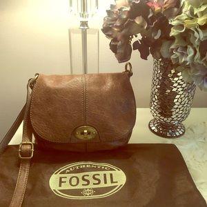 Fossil Taupe Leather Crossbody Handbag